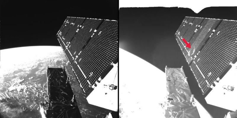 Un trou de 40 cm dans un panneau solaire de Sentinel 1A – Air&Cosmos