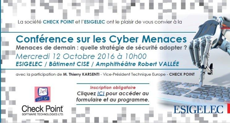 Conférence sur les Cyber Menaces le 12/10/2016 à ESIGELEC