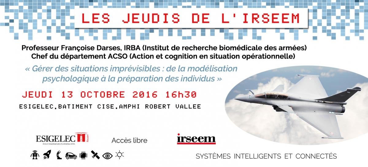 Nouvelle conférence des Jeudis de l'IRSEEM LE 13/10/2016 à L'IRSSEM
