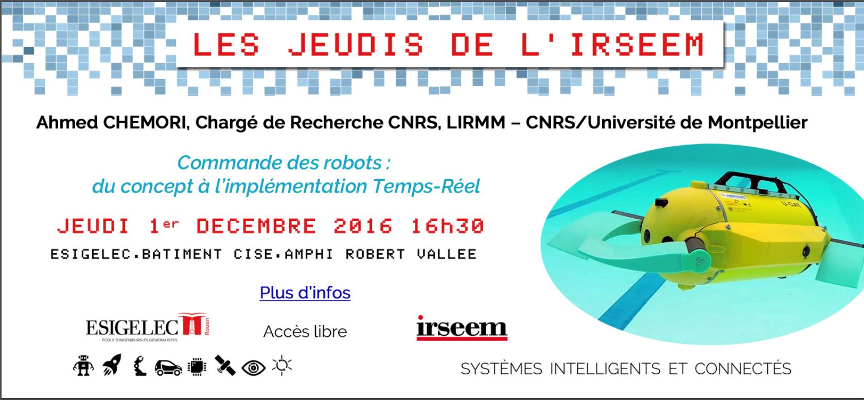 Jeudis de l'IRSEEM : Conférence de Ahmed CHEMORI le 01/12/2016 à l'IRSEEM