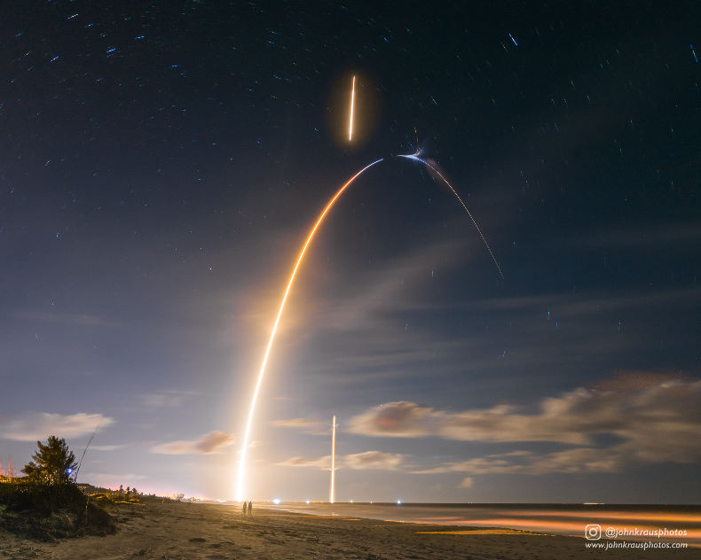Aller-retour d'un étage de Falcon 9 dans la nuit de Floride – Air&Cosmos