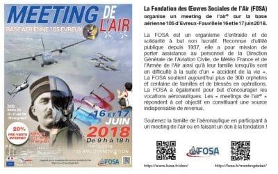 La Fondation des Oeuvres Sociales de l'Air (FOSA) organise un meeting de l'air® sur la base aérienne 105 d'Evreux-Fauville le 16 et le 17 juin 2018. – Air&Cosmos
