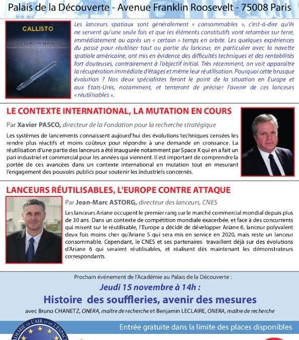 Conférences sur les lanceurs réutilisables le 31 mai à Paris – Air&Cosmos