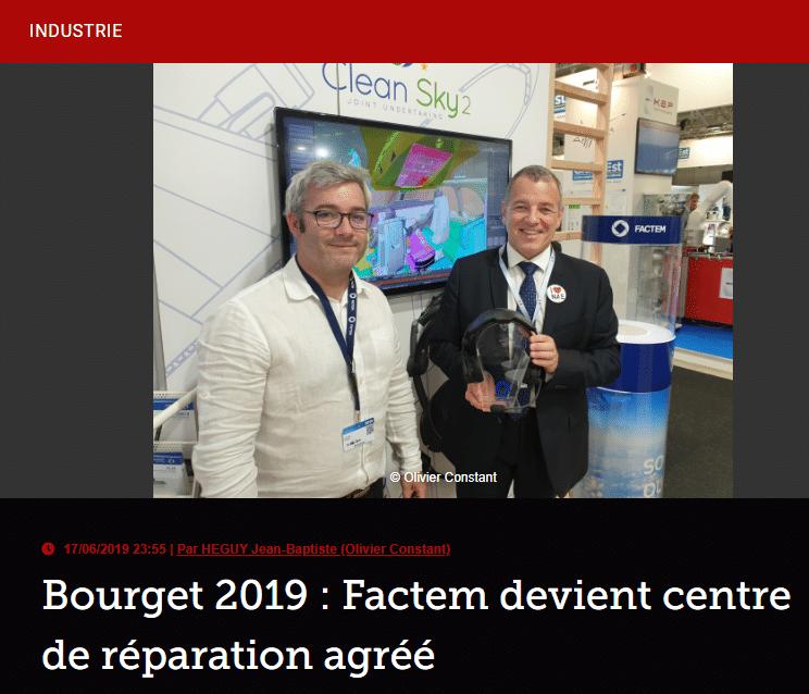 Bourget 2019 : Factem devient centre de réparation agréé
