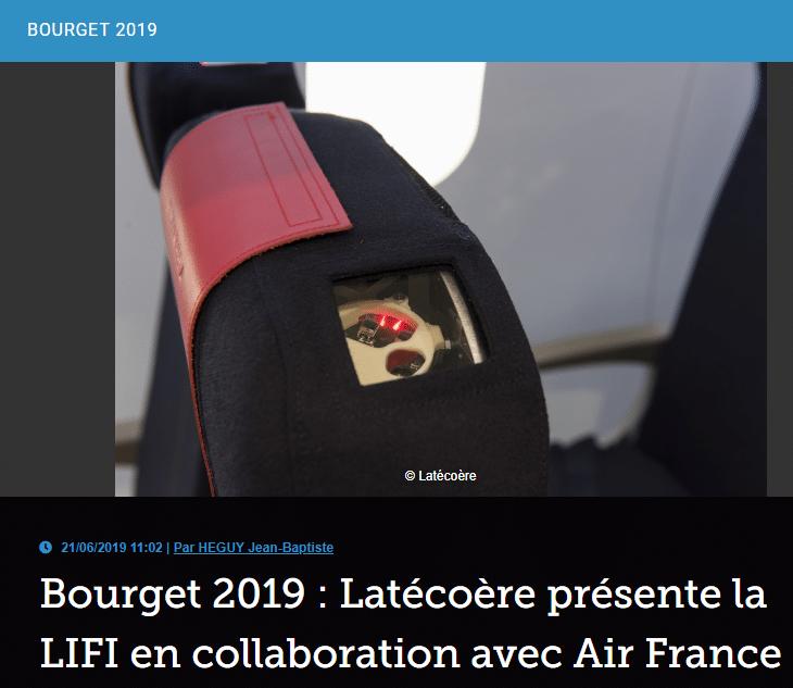 Bourget 2019 : Latécoère présente la LIFI en collaboration avec Air France