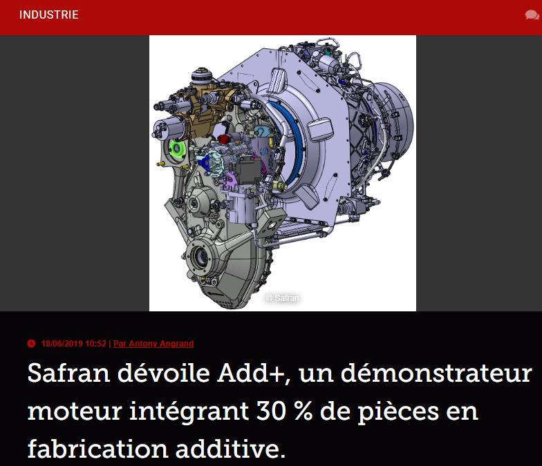 Safran dévoile Add+, un démonstrateur moteur intégrant 30 % de pièces en fabrication additive.