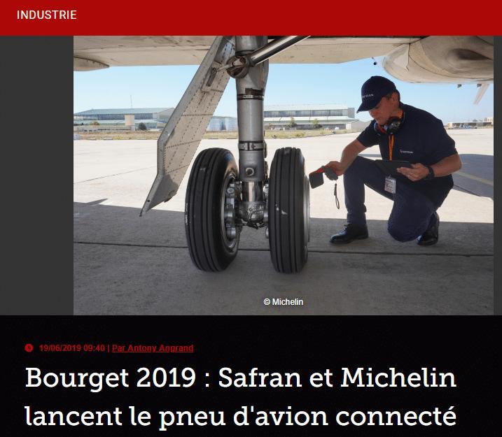 Bourget 2019 : Safran et Michelin lancent le pneu d'avion connecté