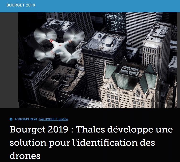 Bourget 2019: Thales développe une solution pour l'identification des drones