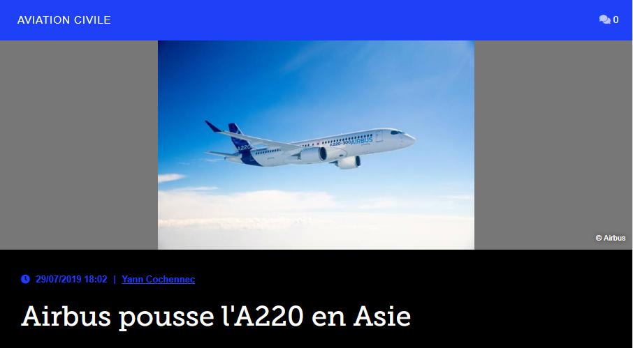 Airbus pousse l'A220 en Asie