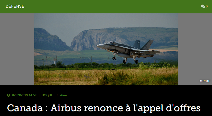 Canada: Airbus renonce à l'appel d'offres