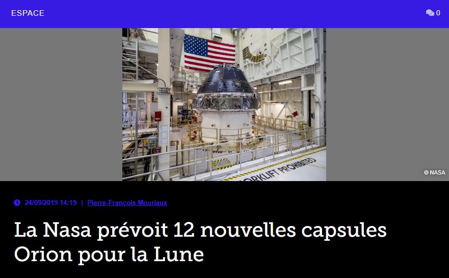 La Nasa prévoit 12 nouvelles capsules Orion pour la Lune