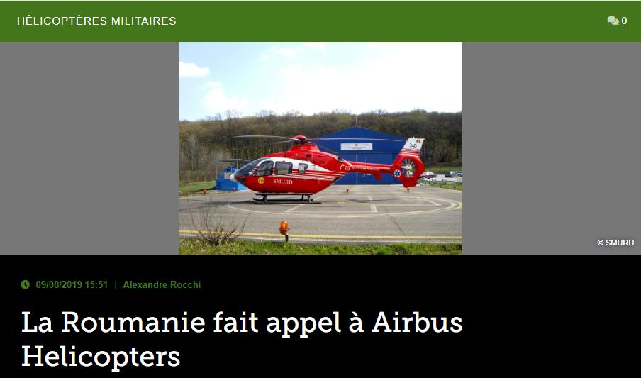 La Roumanie fait appel à Airbus Helicopters