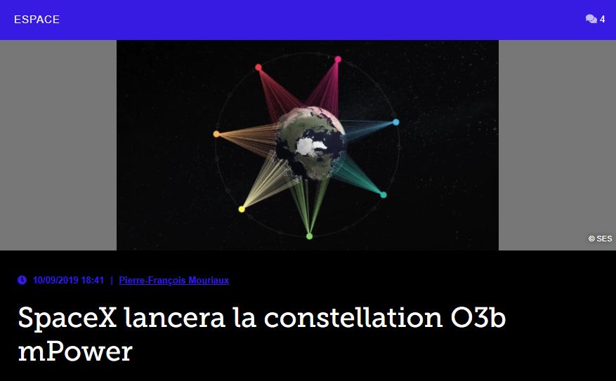 SpaceX lancera la constellation O3b mPower