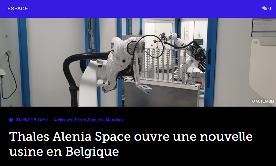 Thales Alenia Space ouvre une nouvelle usine en Belgique