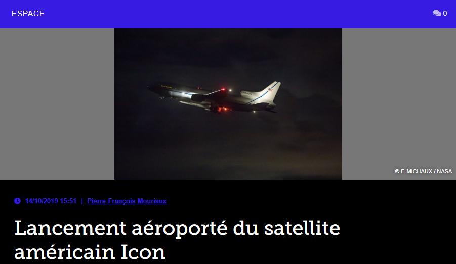 Lancement aéroporté du satellite américain Icon