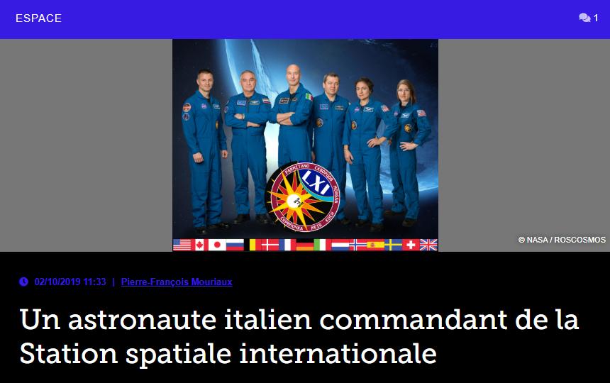Un astronaute italien commandant de la Station spatiale internationale