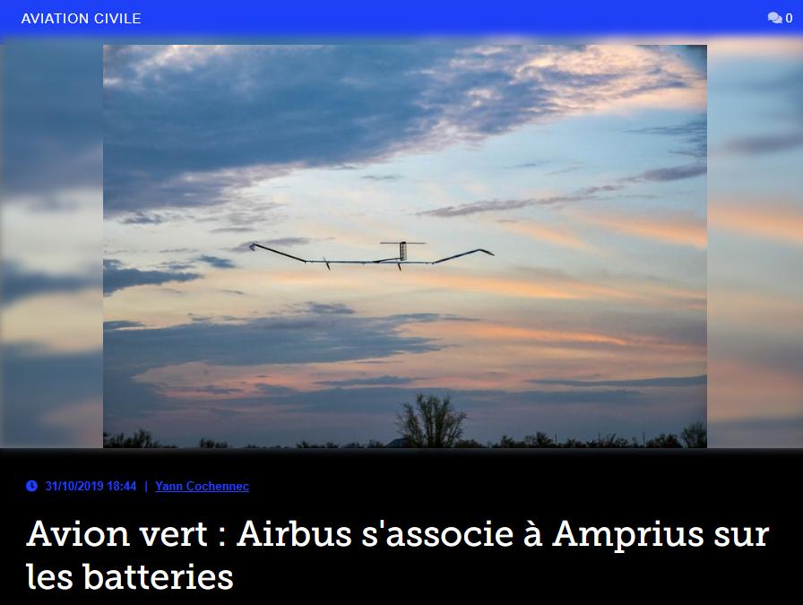 Avion vert : Airbus s'associe à Amprius sur les batteries