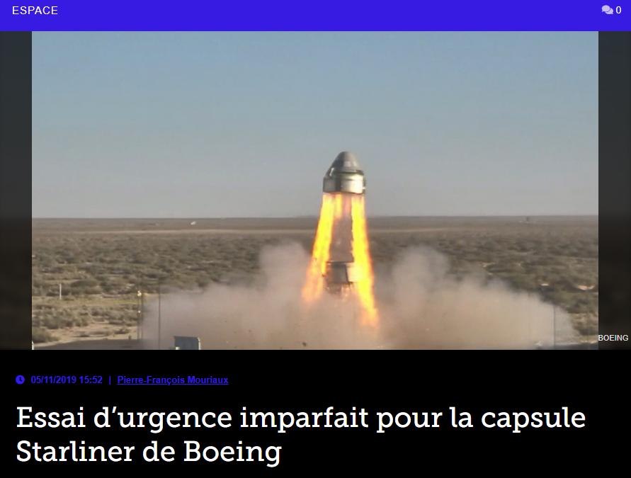Essai d'urgence imparfait pour la capsule Starliner de Boeing