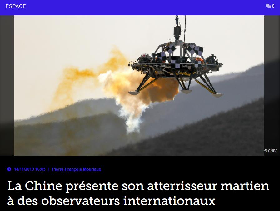 La Chine présente son atterrisseur martien à des observateurs internationaux