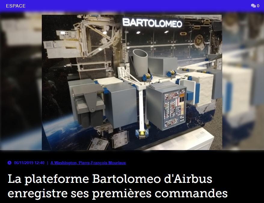 La plateforme Bartolomeo d'Airbus enregistre ses premières commandes