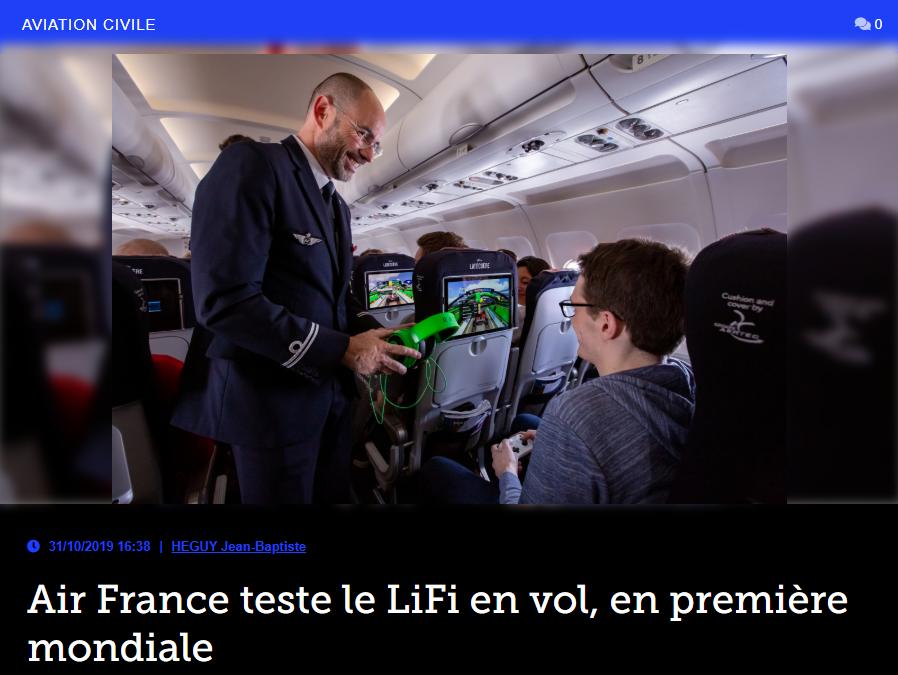 Air France teste le LiFi en vol, en première mondiale