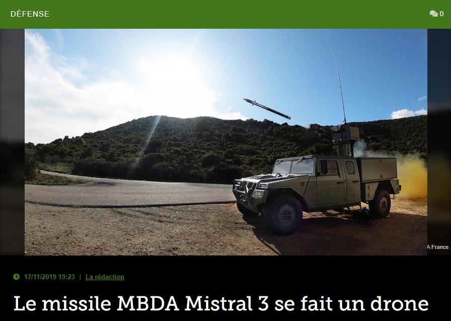 Le missile MBDA Mistral 3 se fait un drone
