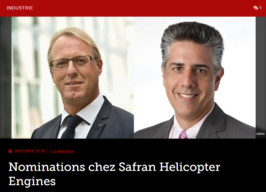 Nominations chez Safran Helicopter Engines