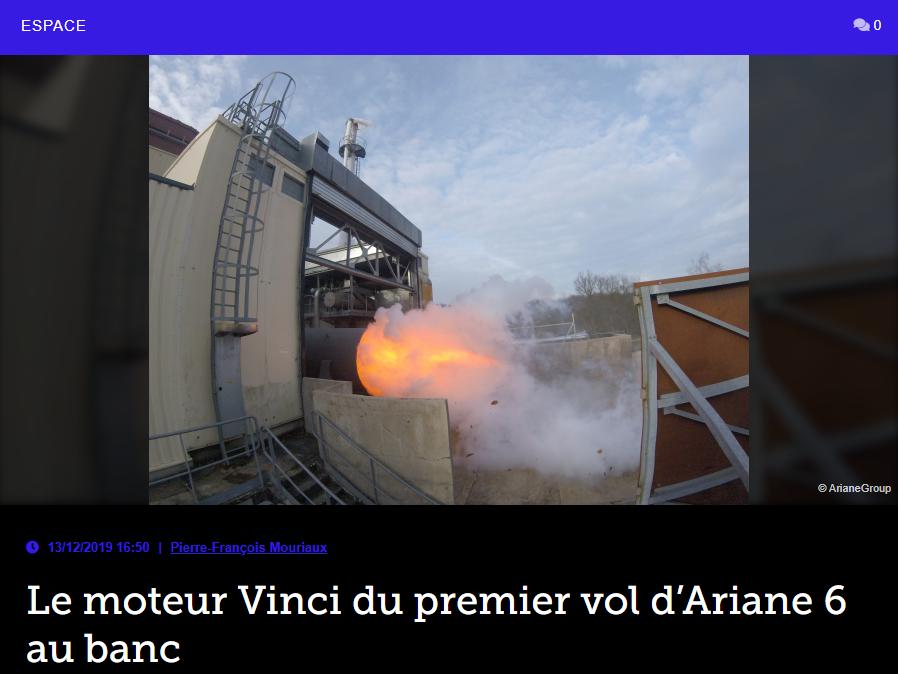 Le moteur Vinci du premier vol d'Ariane 6 au banc