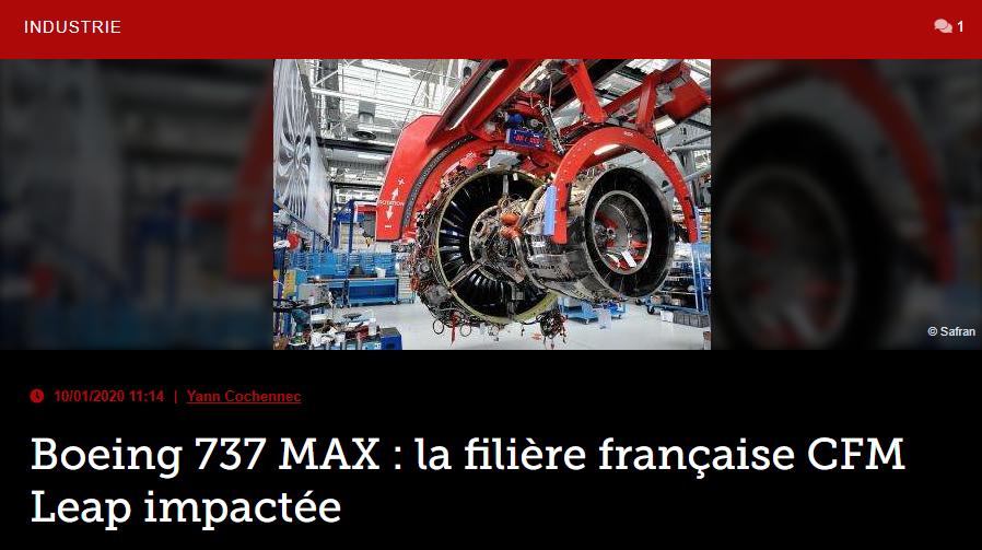 Boeing 737 MAX : la filière française CFM Leap impactée