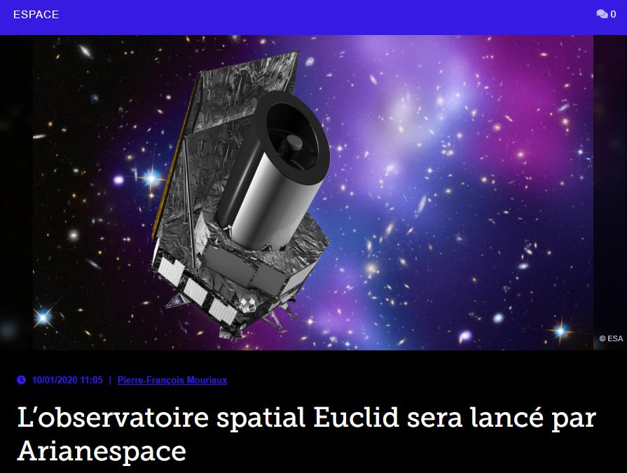 L'observatoire spatial Euclid sera lancé par Arianespace