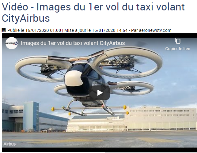 Vidéo – Le taxi volant CityAirbus réalise son premier vol – Industrie aéronautique – Aeronewstv
