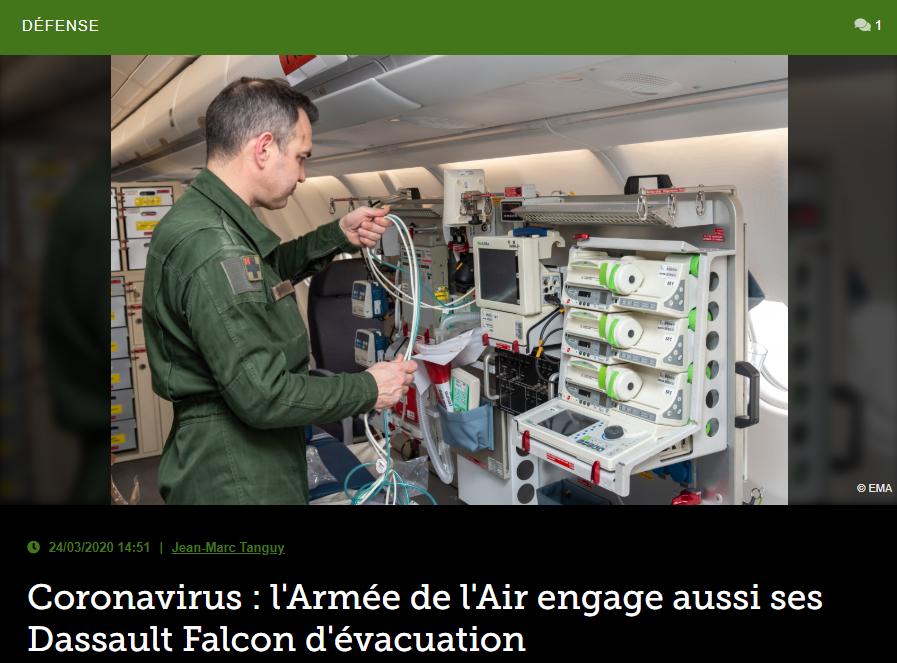 Coronavirus : l'Armée de l'Air engage aussi ses Dassault Falcon d'évacuation