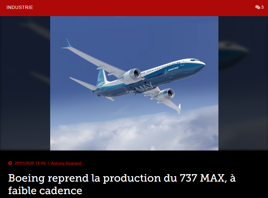 Boeing reprend la production du 737 MAX, à faible cadence