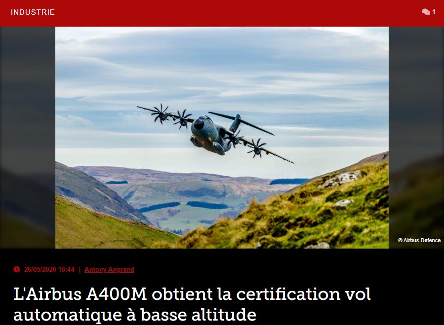 L'Airbus A400M obtient la certification vol automatique à basse altitude