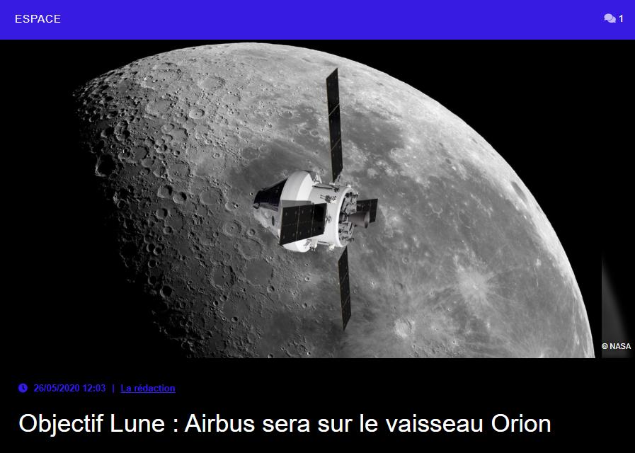 Objectif Lune : Airbus sera sur le vaisseau Orion