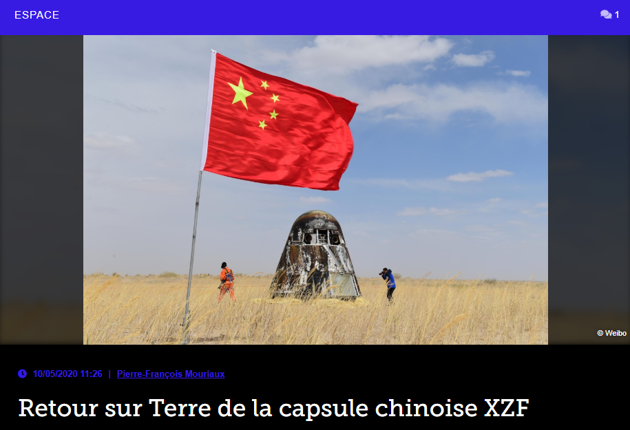 Retour sur Terre de la capsule chinoise XZF