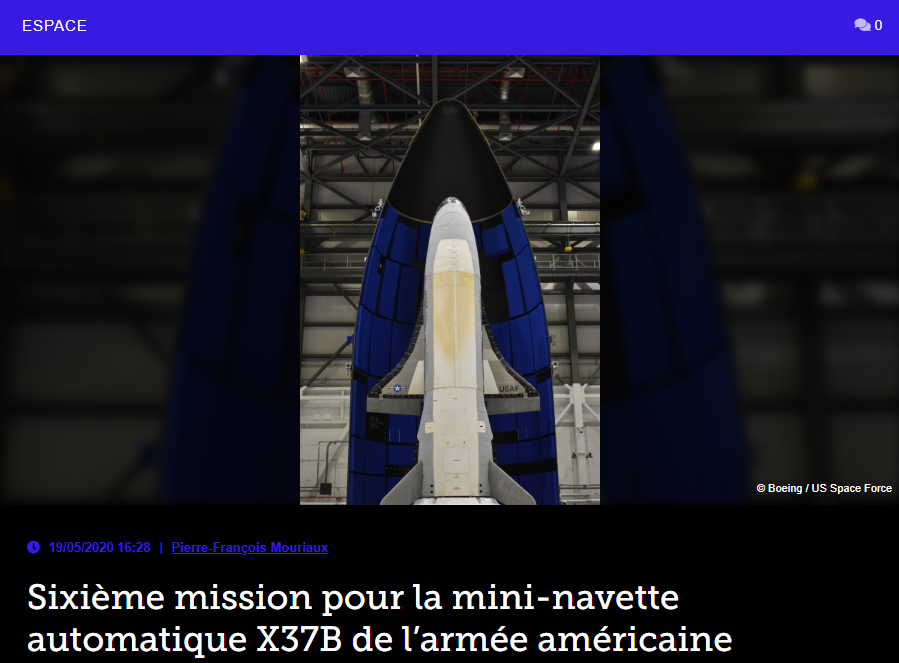 Sixième mission pour la mini-navette automatique X37B de l'armée américaine