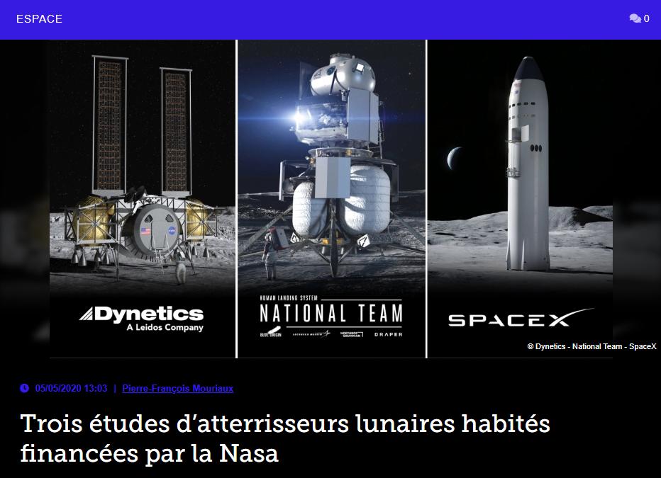 Trois études d'atterrisseurs lunaires habités financées par la Nasa