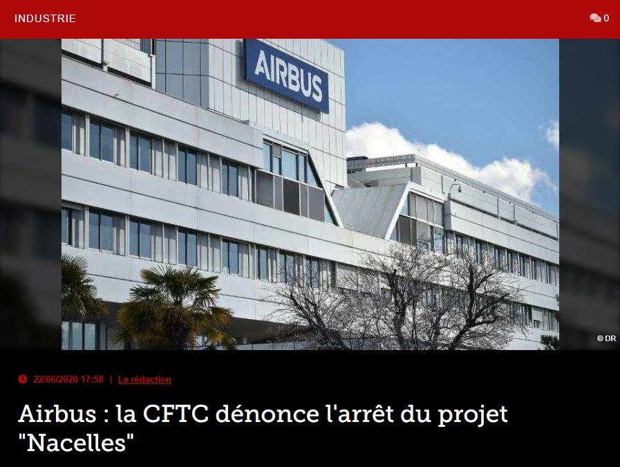 Airbus : la CFTC dénonce l'arrêt du projet «Nacelles»