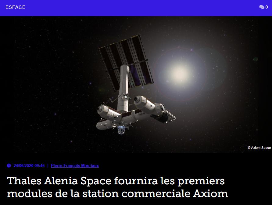 Thales Alenia Space fournira les premiers modules de la station commerciale Axiom