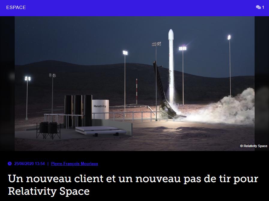 Un nouveau client et un nouveau pas de tir pour Relativity Space