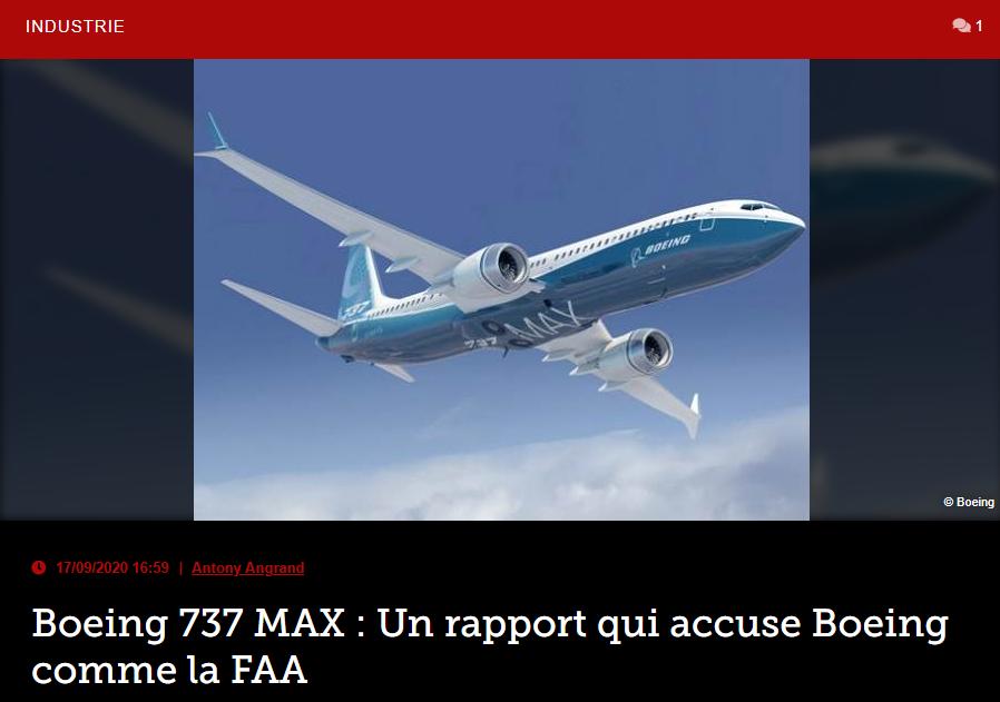 Boeing 737 MAX : Un rapport qui accuse Boeing comme la FAA
