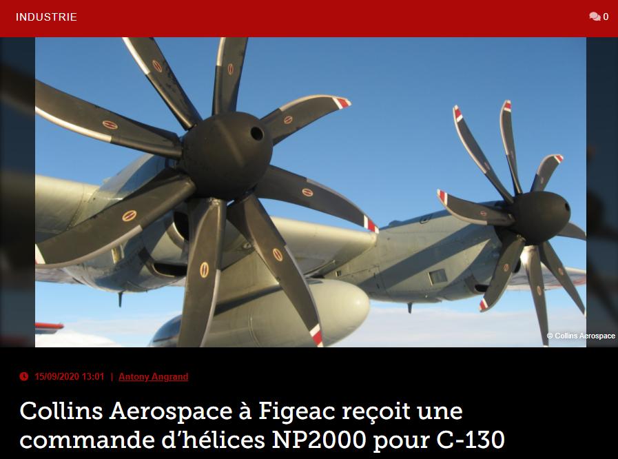 Collins Aerospace à Figeac reçoit une commande d'hélices NP2000 pour C-130
