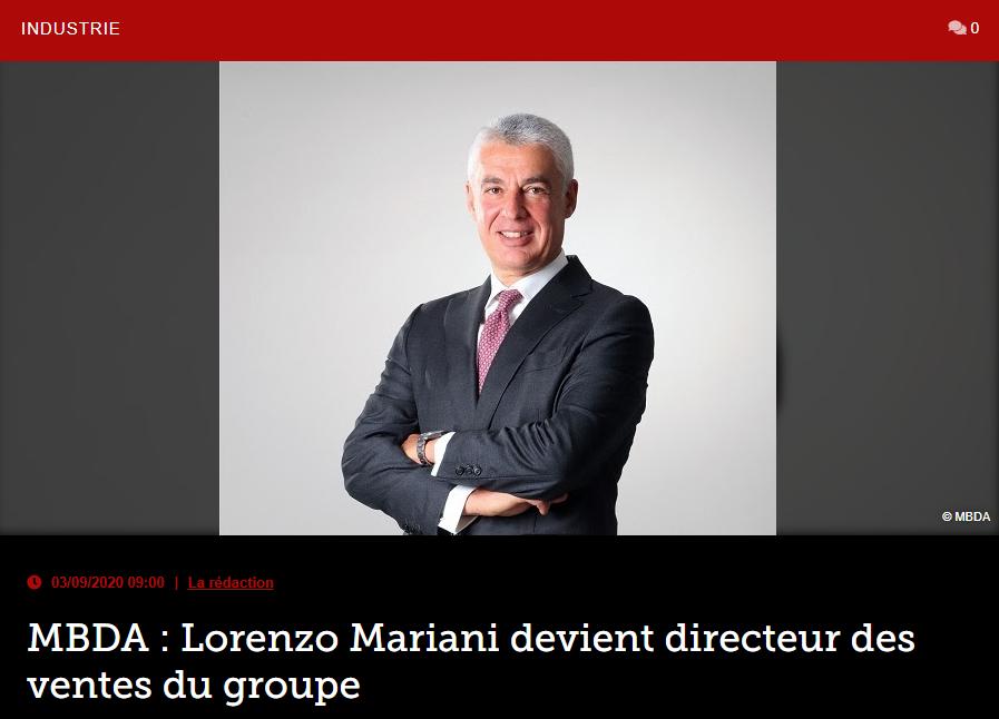 MBDA : Lorenzo Mariani devient directeur des ventes du groupe