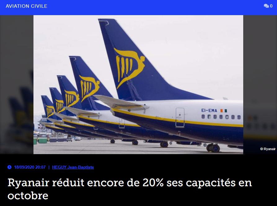 Ryanair réduit encore de 20% ses capacités en octobre
