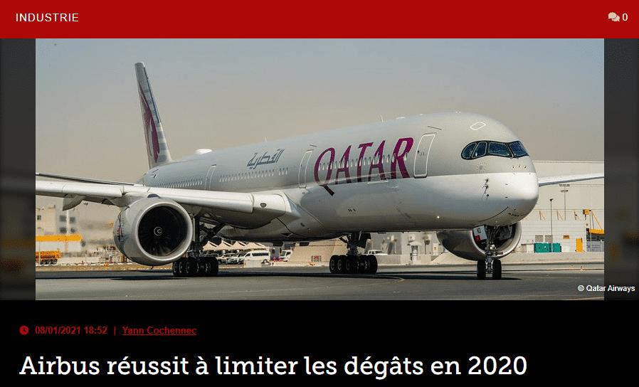 Airbus réussit à limiter les dégâts en 2020