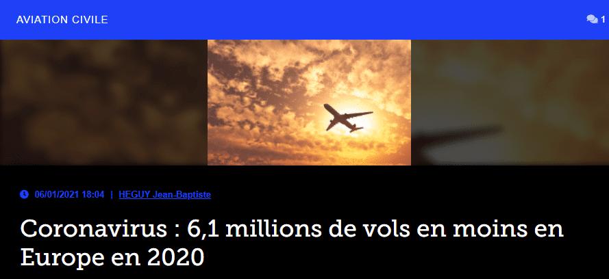 Coronavirus : 6,1 millions de vols en moins en Europe en 2020