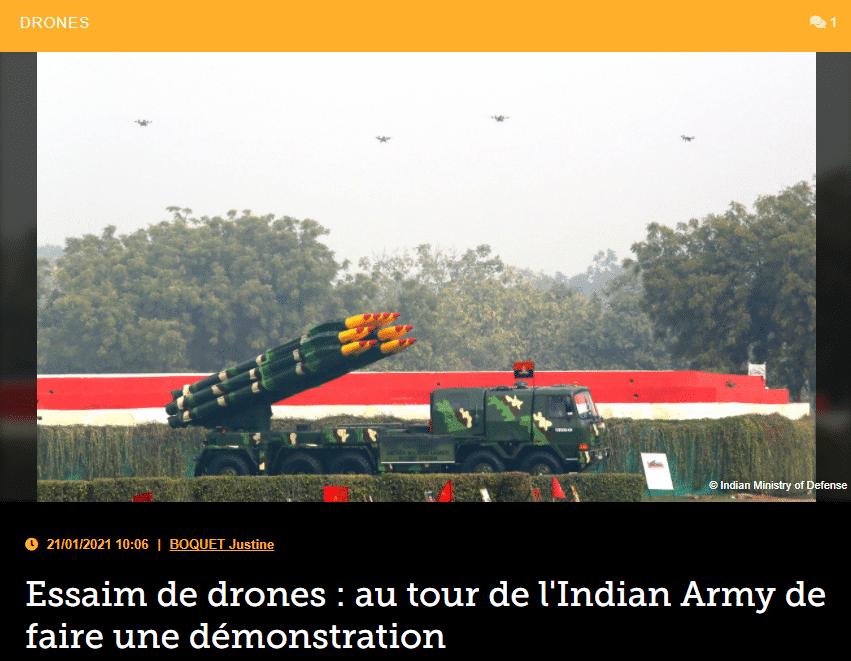 Essaim de drones: au tour de l'Indian Army de faire une démonstration