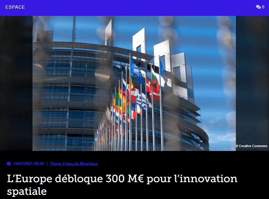 L'Europe débloque 300 M€ pour l'innovation spatiale