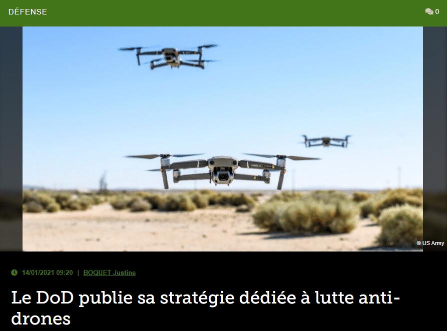 Le DoD publie sa stratégie dédiée à lutte anti-drones